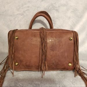 Scully Bags - Scully Brown Leather Fringe Satchel Handbag